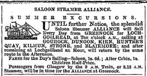 Alliance Lochgoilhead July 25 1858