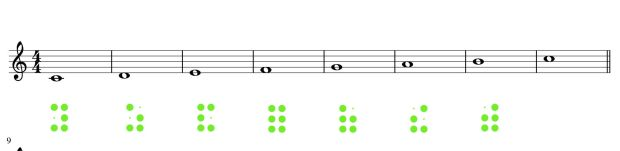Musik: ganze Noten in Braille