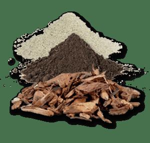 bark topsoil white sand