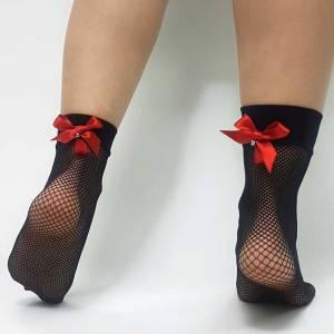 Κάλτσα διχτυωτή με κόκκινο φιόγκο και πέρλα