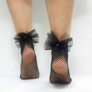 Διχτυωτές κάλτσες με τούλι και πέρλες