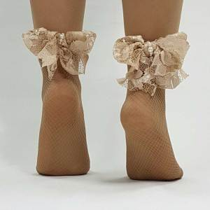 Nude κάλτσες με φιόγκο