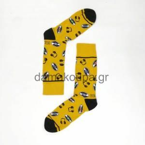 Κίτρινη κάλτσα με σχέδια