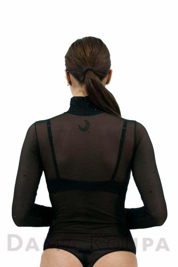 Μαύρο διάφανο κορμάκι με strass
