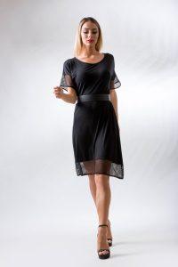 Φορεμα σε γραμμη αλφα μιντι μαυρο