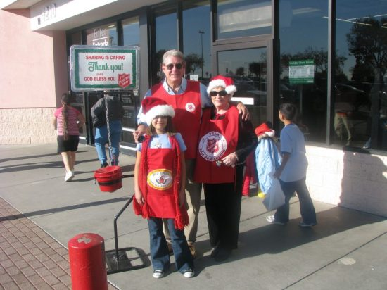 Roslyn Billings (Salvation Army Advisory Board member)  and family volunteer as a Salvation Army bellringer! If your family, organization or business can supply enough people to ring bells at one of the San Bernardino Corps Red Kettle locations for an entire day, please volunteer by calling (909) 888-1336.