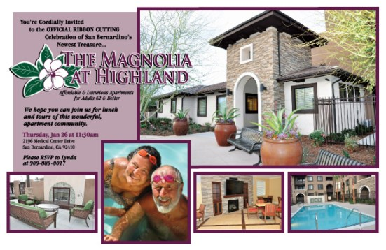 The Magnolia at Highlands Senior Citizen Apartments Grand Opening invitation created for Western Seniors Housing