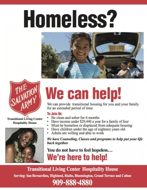 Salvation Army Homeless Shelter Recruitment poster/Flyer.  For more information call Carl Dameron @ (909) 534-9500