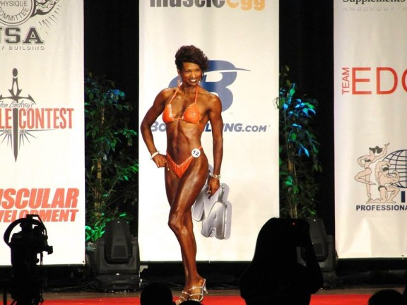 Malaika on stage at the Muscle Contest.com Los Angeles Classic July 20, 2013
