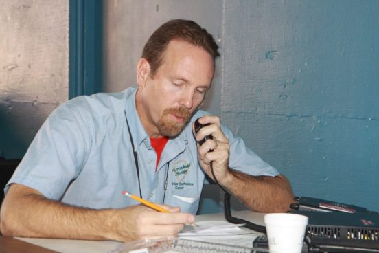 Paul Bennet practices emergency communications at a previous SATERN field day. During the event Ham Radio operators practice to provide the Inland Empire with communications during a disaster.