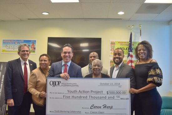 """""""Our youth are in crisis, they are being influenced by many fronts to experiment with drugs and we will do all we can to help them combat bad information. Now more than ever drug use is promoted in music, movies and social media. We have to continue helping and mentoring our youth in making informed decisions,"""" Williams. Left to Right: Mayor Carey Davis - City of San Bernardino; Mayor Deborah Robertson - City of Rialto; Congressman Pete Aguilar ( D-Rep CA 31); Terrance Stone - CEO Young Visionaries; San Bernardino City Schools Board Member Dr. Margaret Hill; Joseph Williams San Bernardino Community College District (SBCCD) Board and CEO of Youth Action Project; and Luvina Beckley - CEO of M.H.M. & Associates (Professional Grants Firm)"""
