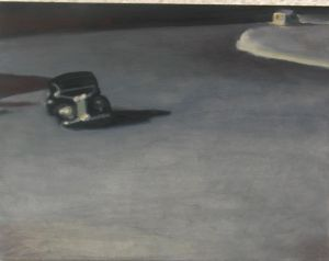 Huida delirante Damián Flores 2013 óleo sobre madera 20x26 cm.