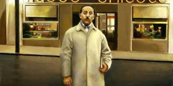 Luis Gutiérrez Soto ante Chicote. 2005. Óleo sobre tabla. 37 x 52 cm.
