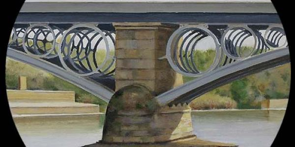 Puente de Triana. Óleo/madera. 50 cm diam.