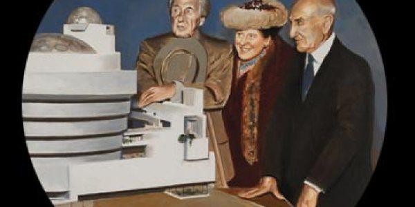 F.LL.Wright presenta su maqueta. 2007. Óleo/madera. 50 x 50 cm