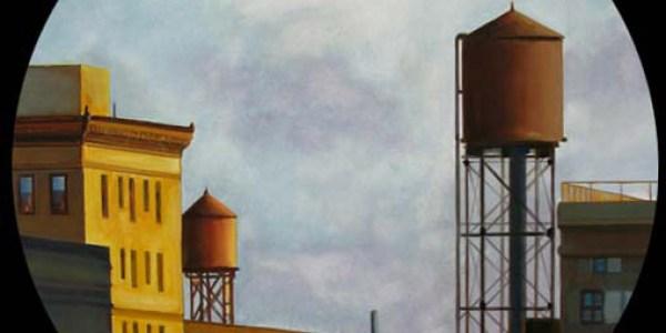 Depósitos de agua de Brooklyn. 2007. Óleo/madera. 50 cm diám.