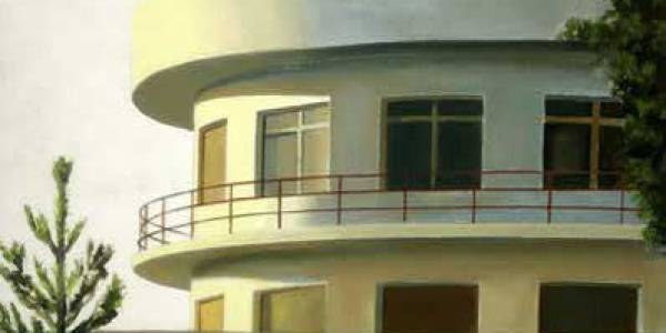 Piscina Club Stella. 2005. Óleo sobre tabla. 27 x 32 cm.