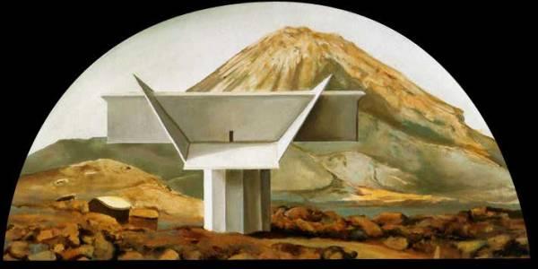 Mansion chã das Caldeiras. 2004. Óleo sobre madera. 37,5 x 75 cm