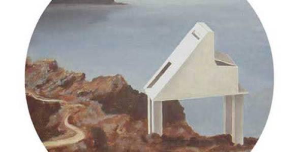 El Refugio del pianista. 2003. Óleo sobre madera. 30 cm diám.