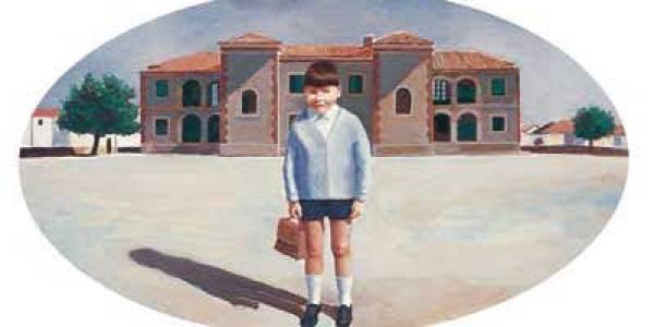 En las escuelas de arriba 2003 Óleo sobre madera 49 x 29 cm oval