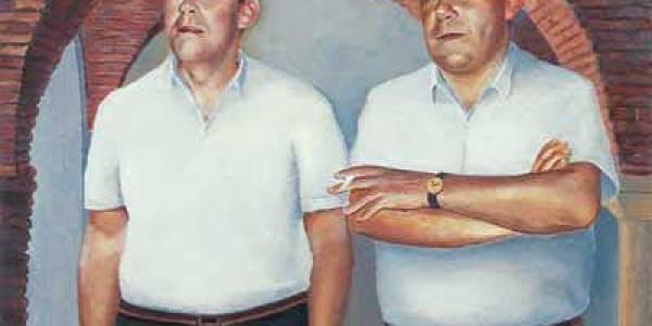 Francisco y Damián. Los dos amigos 2003 Óleo sobre madera 49 x 29 cm