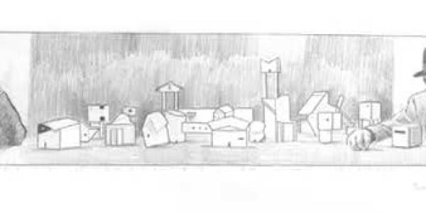 Melnikov y Le Corbusier en mi estudio. 2003. Grafito sobre papel. 10 x 45 cm
