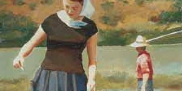 Mi madre en la orilla 2003 Óleo sobre madera 40 x 20 cm