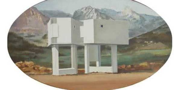 Las dos gemelas. 2003. Óleo sobre madera. 29 x 49 cm
