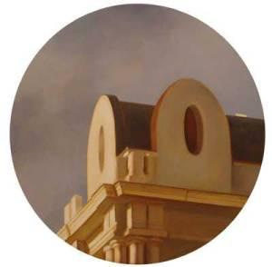 Gran Vía, 22, 2010, óleo/tabla, 50 cm. (diámetro)