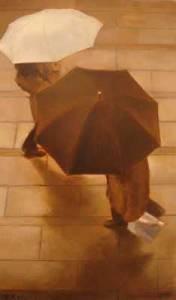 Lluvia de paseantes II, 2010, óleo/lienzo, 33x19 cm.