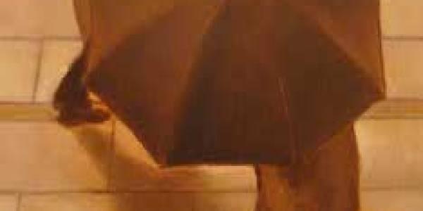 Lluvia de paseantes II, 2010, óleo/lienzo, 33×19 cm.