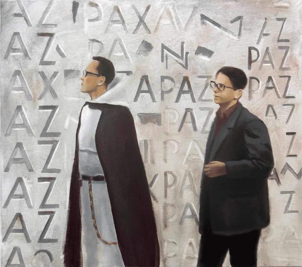 Fray-Francisco-Coello-y-J.M.-Subirachs.-2019.-Óleo-sobre-tela.-41-x-46-cm