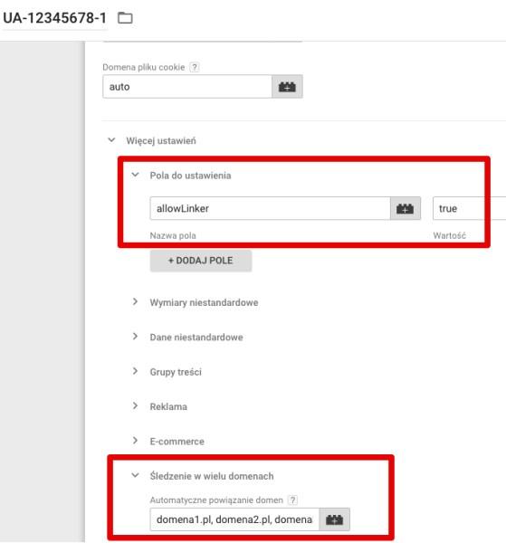 śledzenie międzydomenowe google tag manager