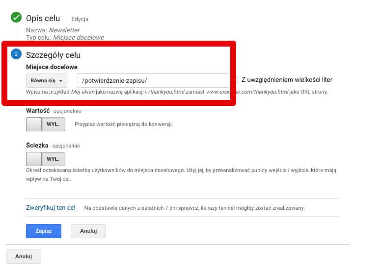 cel na miejsce docelowe w google analytics