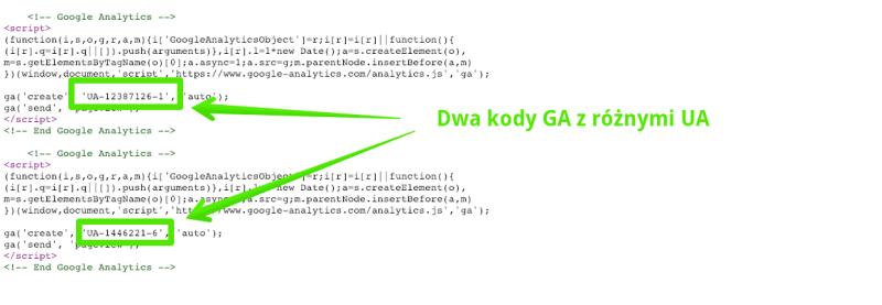 b艂膮d w umieszczeniu kod贸w google analytics