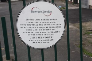 Newham Council plaque commemorating Upper Cut Club and Jimi Hendrix