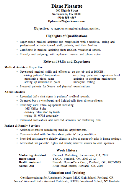 Resume Sample Receptionist Or Medical Istant
