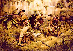 Capture of Fort Riviere, Haiti, 1915, by D. J. Neary; illustrations of Maj. Smedley Butler, Sgt. Iams, and Pvt. Gross (USMC art collection)