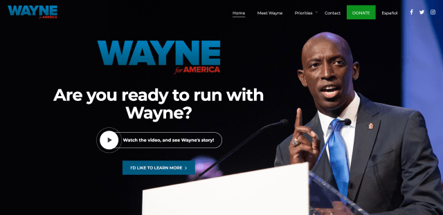 Homepage for wayneforusa.com