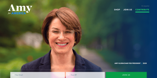 Homepage of amyklobuchar.com