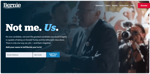 Home page of berniesanders.com