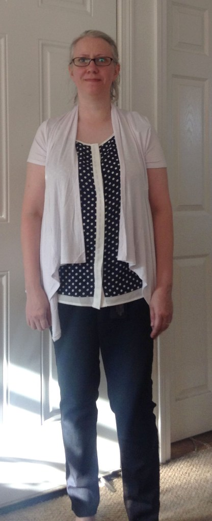 Jeans, Cardigan, Dotted Print Shirt