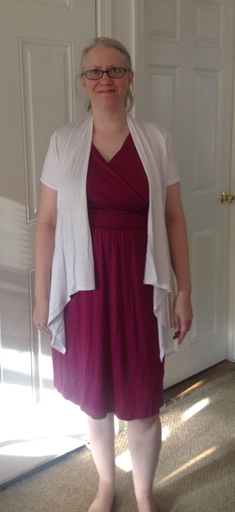 Plum Dress and White Cardigan