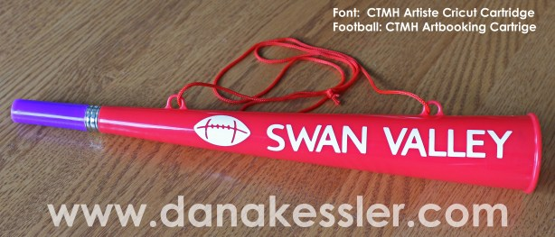 CTMH Cricut Artbooking and Artiste with Vinyl lettering on football horn #ctmh #football #diy #personalize