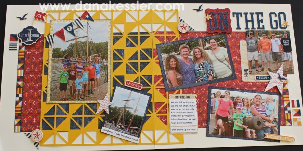 Two Page Nautical Patriotic Scrapbook Layout using Tommy papers #scrapbooking #ctmh