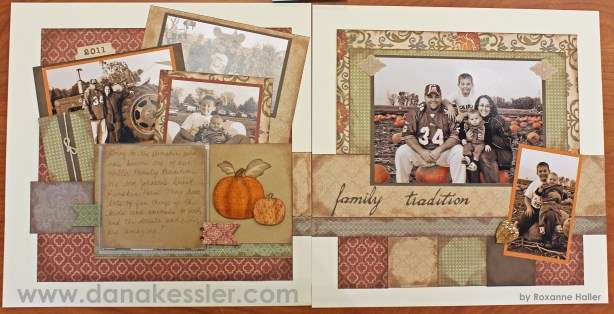 Two Page Autumn Fall Pumpkin scrapbooking Layout Huntington #ctmh #scraptabulouscrops #scrapbooking