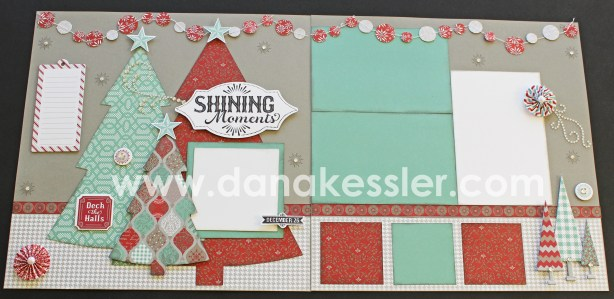 Two Page Christmas Layout using CTMH Sparkle and Shine WOTG and Cricut Art Philosopy #ctmh #scrapbooking