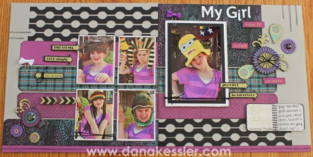 Two Page Scrapbook layout Laughing Lola Purple Girl Cricut Artbooking #ctmh #cricut #scraptabulousdesigns
