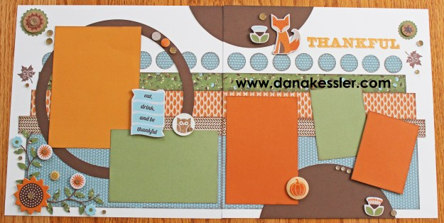 Two Page Fall Autumn Thanksgiving Scrapbook layout Pathfinding Cricut #ctmh #scraptabulousdesigns #cricutexplore
