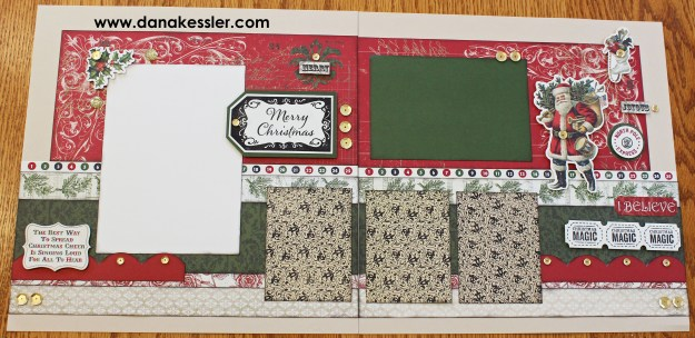 Two Page Holiday Christmas Scrapbook Layout Pages Yuletide #scraptabulousdesigns #ctmh #cricutexplore